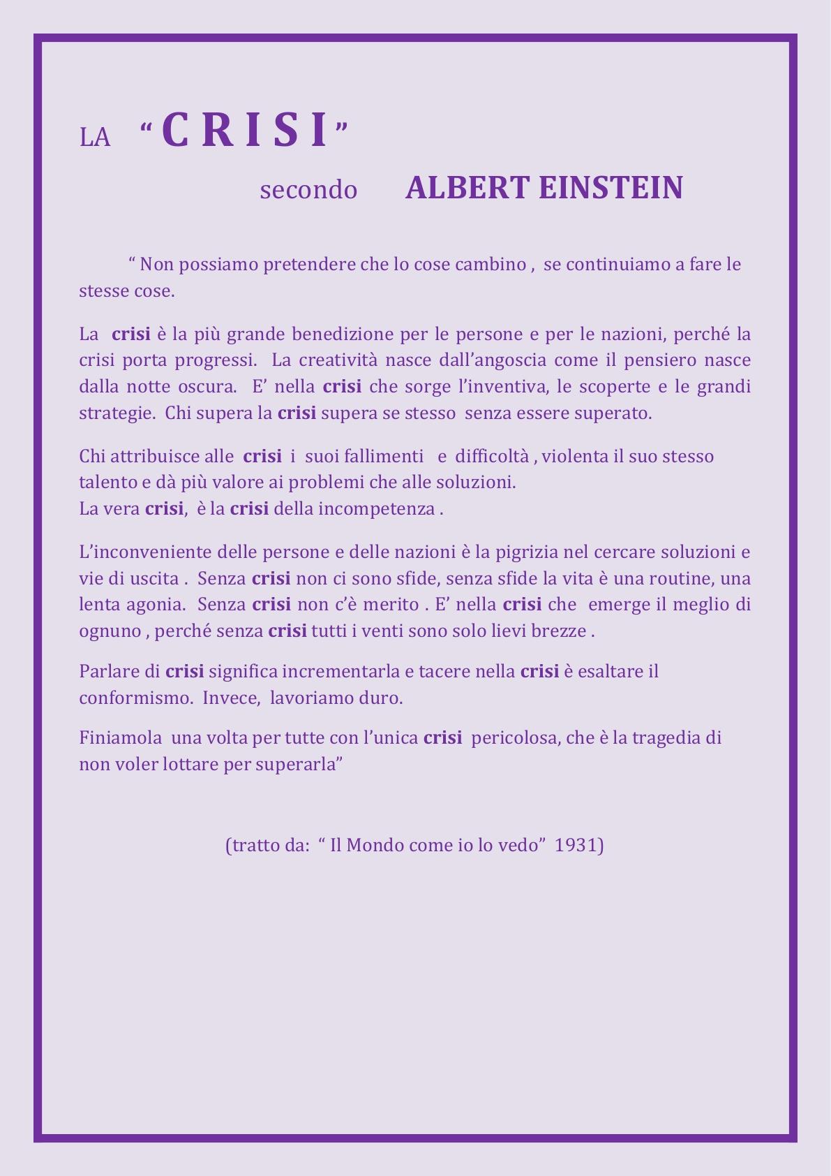 ALI  la CRISI secondo Albert Einstein OK