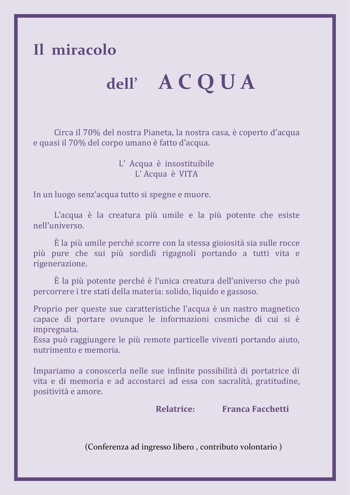 ALI  Confrenza    -  Il miracolo dell'Acqua Rev 28ago2015
