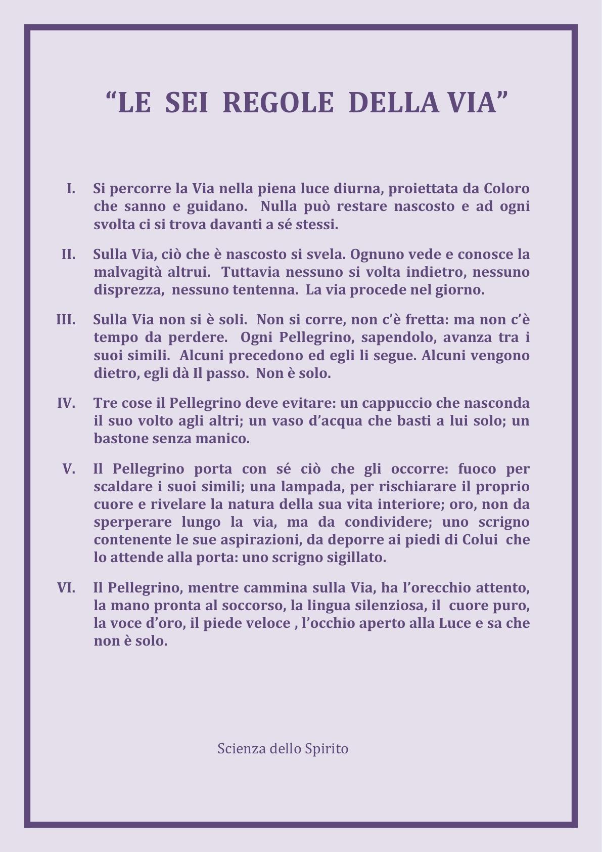 ALI   Le 6 Regole della VIA  x sito web